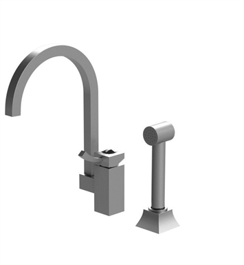 Rubinet 8LICLPNPNJT Ice Single Control Kitchen Faucet with Hand Spray With Finish: Main Finish: Polished Nickel | Accent Finish: Polished Nickel And Crystal Accent: Black Crystal Accent