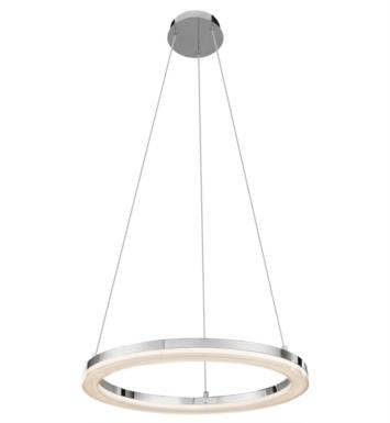 "Elan Lighting 83442 Ithican 1 Light 23"" LED Ring Pendant in Chrome Finish"