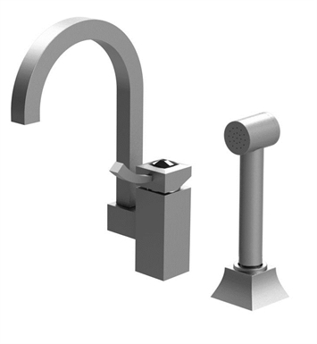 Rubinet 8NICLSNSNCL Ice Single Control Bar Faucet with Hand Spray With Finish: Main Finish: Satin Nickel | Accent Finish: Satin Nickel And Crystal Accent: Clear Crystal Accent