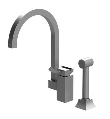 Rubinet 8LMQ1CHSC Matthew Quinn Single Control Kitchen Faucet with Hand Spray With Finish: Main Finish: Chrome | Accent Finish: Satin Chrome
