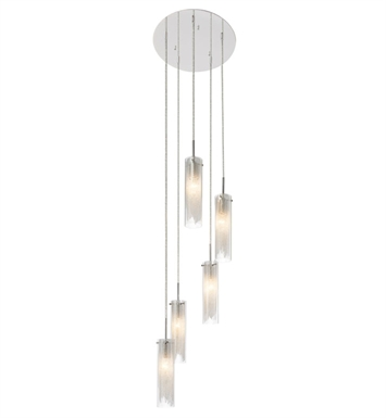 Elan Lighting 83067 Krysalis™ 5 Light Spiral Mini Pendant Chandelier in Chrome Finish