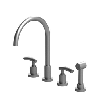Rubinet 8BHOLSNSN H2O Widespread Kitchen Faucet with Hand Spray With Finish: Main Finish: Satin Nickel | Accent Finish: Satin Nickel