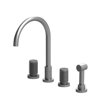 Rubinet 8BHORSNSN H2O Widespread Kitchen Faucet with Hand Spray With Finish: Main Finish: Satin Nickel | Accent Finish: Satin Nickel