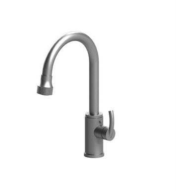 Rubinet 8JHOLSNBK H2O Single Hole Single Control Kitchen Faucet with Retractable Dual Function Spray With Finish: Main Finish: Satin Nickel | Accent Finish: Black