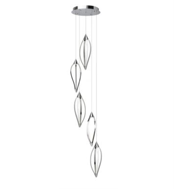 "Elan Lighting 83389 Meridian 5 Light 21 3/4"" LED Pendant Cluster in Chrome Finish"