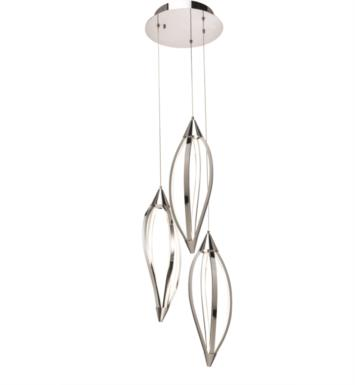 "Elan Lighting 83388 Meridian 3 Light 28 3/4"" LED Pendant Cluster in Chrome Finish"