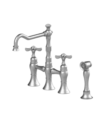 Rubinet 8URVCSNWH Raven Kitchen Bridge Faucet with Hand Spray With Finish: Main Finish: Satin Nickel | Accent Finish: White
