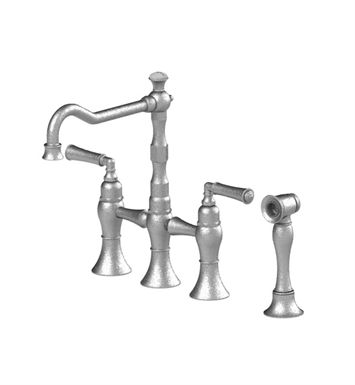 Rubinet 8URVLSNWH Raven Kitchen Bridge Faucet with Hand Spray With Finish: Main Finish: Satin Nickel | Accent Finish: White