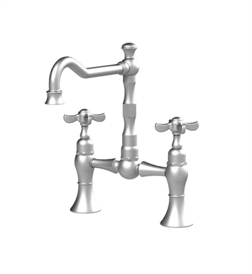 Rubinet 8VRVCSNWH Raven Kitchen Bridge Faucet With Finish: Main Finish: Satin Nickel | Accent Finish: White