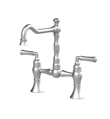 Rubinet 8VRVLSNWH Raven Kitchen Bridge Faucet With Finish: Main Finish: Satin Nickel | Accent Finish: White