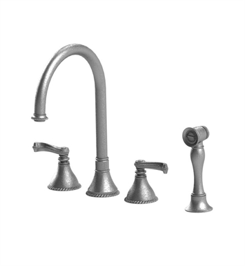 Rubinet 8BETLSNBB Etruscan Widespread Kitchen Faucet with Hand Spray With Finish: Main Finish: Satin Nickel | Accent Finish: Bright Brass