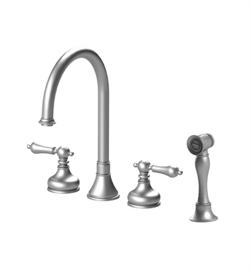 Rubinet 8BRMLSNGD Romanesque Widespread Kitchen Faucet with Hand Spray With Finish: Main Finish: Satin Nickel | Accent Finish: Gold