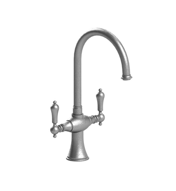 Rubinet 8DRMLSNWH Romanesque Dual Handle Kitchen Faucet With Finish: Main Finish: Satin Nickel | Accent Finish: White