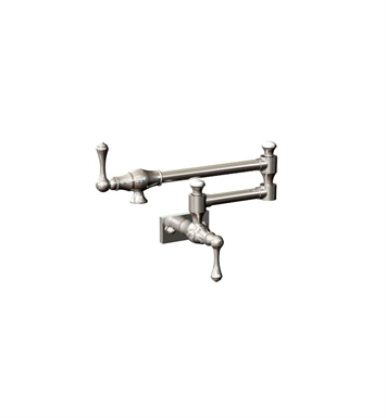 Rubinet 8EFMLSNWH Flemish Wall Mount Pot Filler With Finish: Main Finish: Satin Nickel | Accent Finish: White