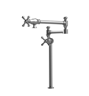Rubinet 8HFMCSNSN Flemish Deck Mount Pot Filler With Finish: Main Finish: Satin Nickel | Accent Finish: Satin Nickel