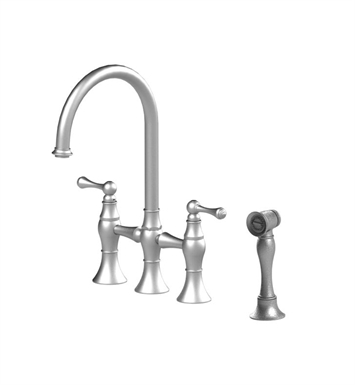 Rubinet 8UFMLSNWH Flemish Kitchen Bridge Faucet with Hand Spray With Finish: Main Finish: Satin Nickel | Accent Finish: White