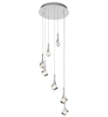 Elan Lighting 83134 Rockne™ 7-Light Spiral Mini Pendant in Chrome Finish