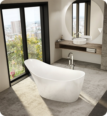 Fleurco BMO6431-18-25 Aria Molto High Gloss Acrylic Bathtub With Drain and Overflow Finish: Brushed Nickel