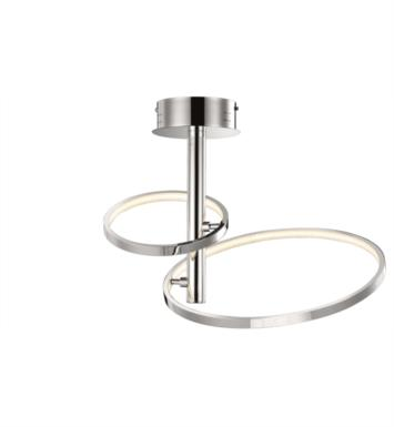 "Elan Lighting 83427 Sirkus 2 Light 22 3/4"" Warm White LED Semi-Flush Mount Ceiling Light in Chrome Finish"