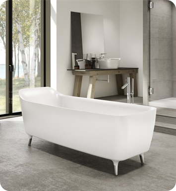 Fleurco BEN6828-18-25 Aria Encore High Gloss Acrylic Bathtub With Drain and Overflow Finish: Brushed Nickel