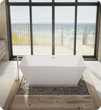 Fleurco BCA6829-18-25 Aria Calando High Gloss Acrylic Bathtub With Drain and Overflow Finish: Brushed Nickel