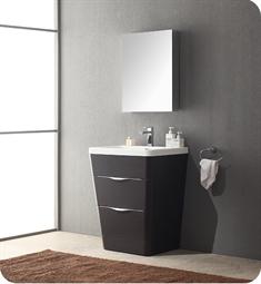 "Fresca Milano 25"" Modern Bathroom Vanity in a Chestnut Finish with Medicine Cabinet and Faucet"