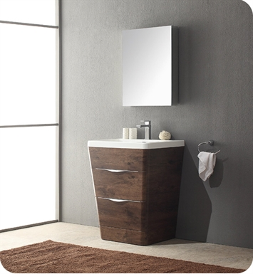 "Fresca FVN8525RW Milano 26"" Modern Bathroom Vanity in a Rosewood Finish with Medicine Cabinet and Faucet"