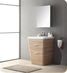 "Fresca Milano 25"" Modern Bathroom Vanity in a White Oak Finish with Medicine Cabinet and Faucet"