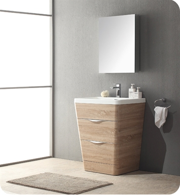 "Fresca FVN8525WK Milano 25"" Modern Bathroom Vanity with Medicine Cabinet and Faucet in White Oak"