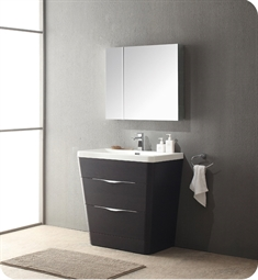 "Fresca Milano 31"" Modern Bathroom Vanity in a Chestnut Finish with Medicine Cabinet and Faucet"