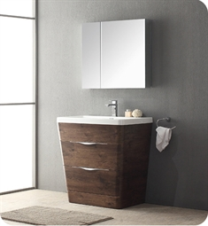"Fresca Milano 31"" Modern Bathroom Vanity in a Rosewood Finish with Medicine Cabinet and Faucet"