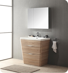 "Fresca Milano 31"" Modern Bathroom Vanity in a White Oak Finish with Medicine Cabinet and Faucet"