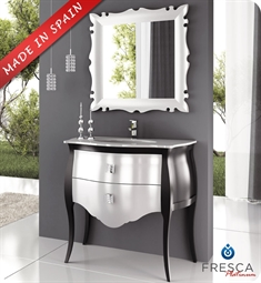 "Fresca Platinum Paris 35"" Glossy Silver Black Bathroom Vanity with Swarovski Handles"