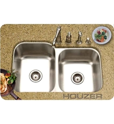 Houzer MEC-3220SR-1 Undermount 60 / 40 Large Left Basin Kitchen Sink