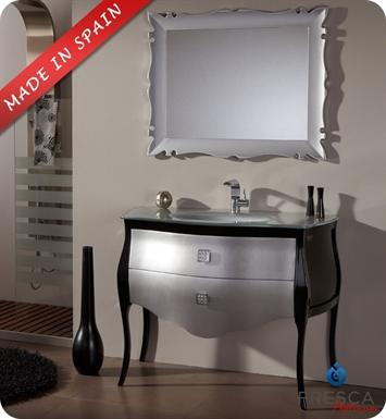 "Fresca Platinum Paris 44"" Glossy Silver-Black Bathroom Vanity with Swarovski Handles"