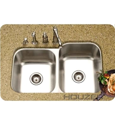 Houzer MEC-3220SL-1 Undermount 60 / 40 Large Right Basin Kitchen Sink
