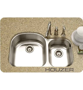 Houzer MC-3210SR-1 36 inch Undermount 70 / 30 Large Left Basin Kitchen Sink