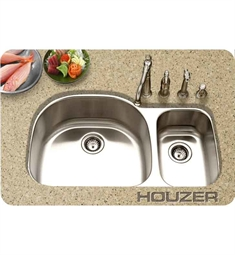 Houzer MCS-3521SR-1 40 inch Undermount 70 / 30 Large Left Basin Kitchen Sink