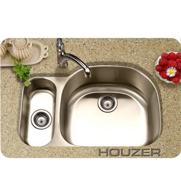 Houzer MG-3209SL-1 Medallion 80/20 Double Bowl Undermount Stainless Steel Sink