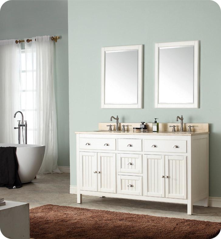 Avanity hamilton v60 fw hamilton 60 double sink bathroom vanity in french white finish for Bathroom vanities hamilton