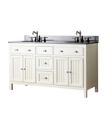 "Avanity HAMILTON-V60-FW Hamilton 60"" Double Sink Bathroom Vanity in French White finish"