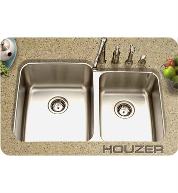 Houzer MES-3221-1 Medallion Gourmet Undermount 60/40 Double Bowl Sink