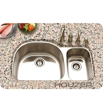 Houzer PNC-3200SR-1 31 1/4 Double Basin Undermount Kitchen Sink with Super-Silencer and StoneGuard