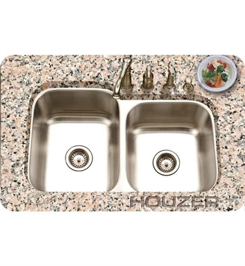 Houzer PNE-3300SL-1 Double Basin Undermount Kitchen Sink with Super-Silencer and StoneGuard
