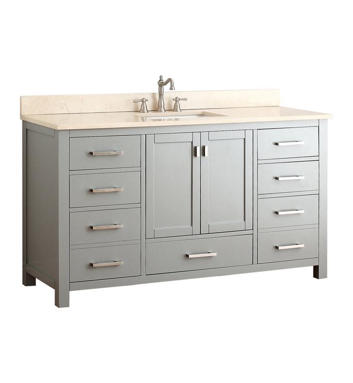 "60 Modero Double Vessel Sink Vanity: Avanity MODERO-V60-CG-A Modero 60"" Single Sink Bathroom"