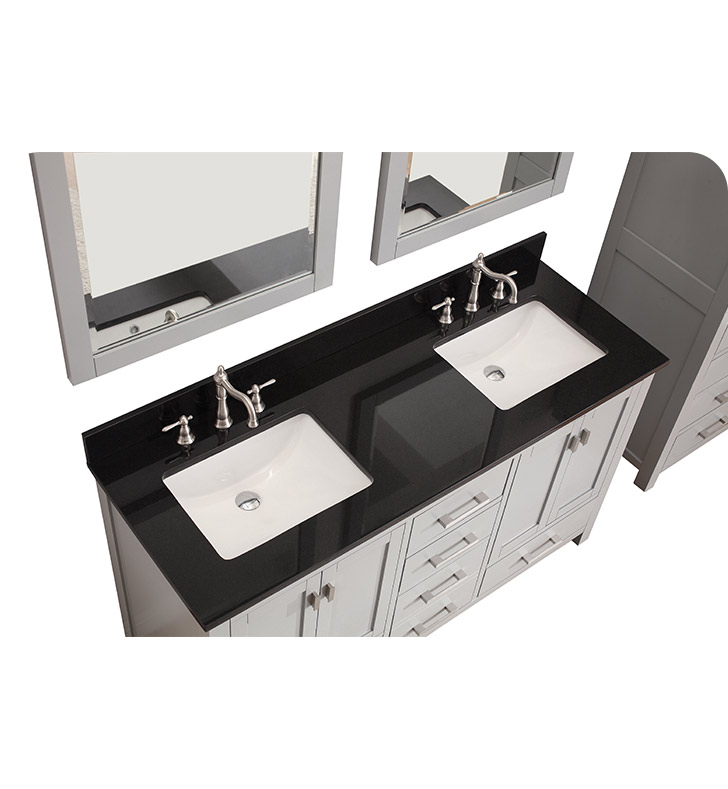 "60 Modero Double Vessel Sink Vanity: Avanity MODERO-V60-CG Modero 60"" Double Sink Bathroom"