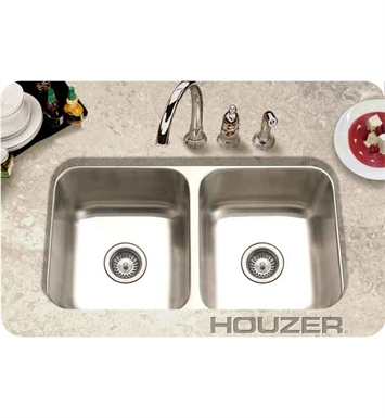Houzer ED-3108-1 Undermount 50 / 50 Double Basin Kitchen Sink