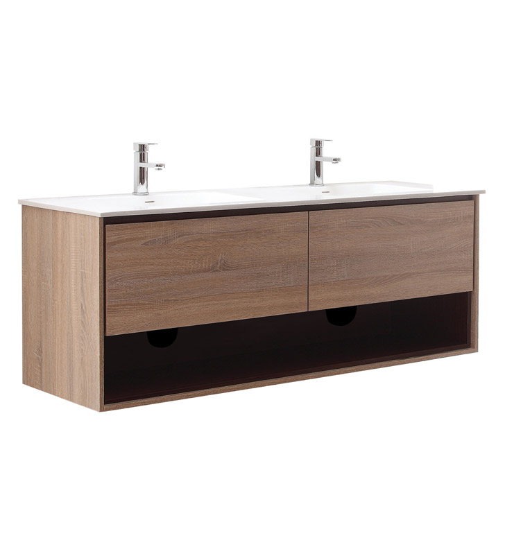 Avanity Sonoma V63 Rk Sonoma 63 Double Sink Bathroom Vanity In Restored Khaki Wood Finish