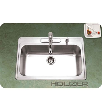 Houzer PGS-3122-1-1 Single Basin Drop-In Stainless Steel Kitchen Sink