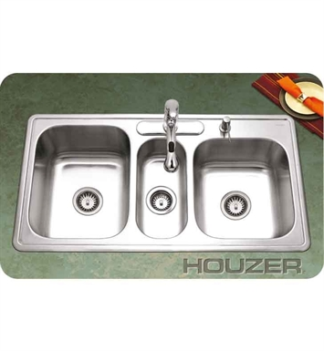 Houzer PGT-4322-1 Self Rimming Triple Basin Kitchen Sink